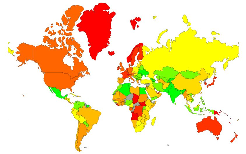 Localização e mapa de custo de vida e dos preços médios no mundo